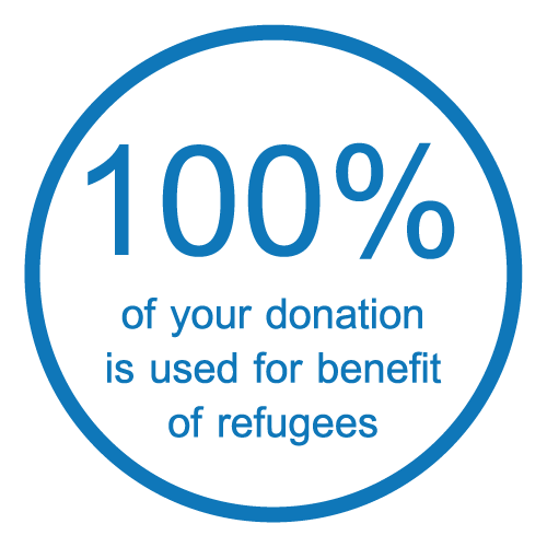 100% of your donation is used for benefit of refugees.