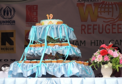 Memorial cake for the 19th anniversary of Tham Hin camp establishment to cherish strength and courageousness of refugees of all ages.