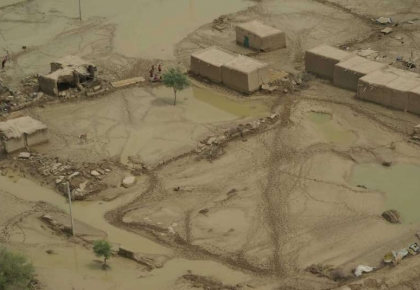 An aerial view of the flooded village of Tali in the Sibi district, in Balochist