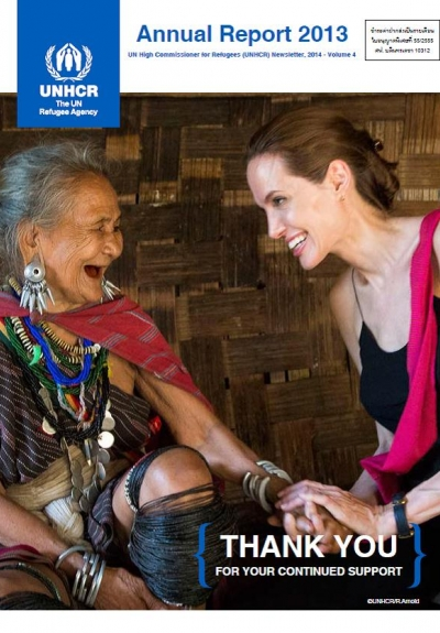 UNHCR Special Envoy Angelina Jolie visits ethnic Karenni refugee Baw Meh, age 75, and her family from Myanmar, in Ban Mai Nai Soi refugee camp. The camp is located approximately two kilometers from the Thai-Myanmar border.  UNHCR/R. Arnold/June 20, 2014