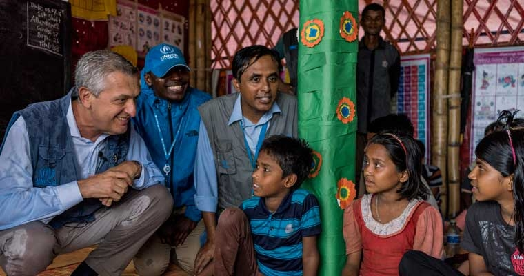 UN refugee chief says investment in education, healthcare and infrastructure is needed to support Rohingya refugees and their hosts in Bangladesh.