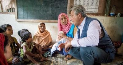 เนื่องจากจำนวนผู้ลี้ภัยที่เพิ่มสูงขึ้น นายฟิลลิปโป กรันดี ข้าหลวงใหญ่ผู้ลี้ภัยแห่งสหประชาชาติ UNHCR ประกาศเตือนวิกฤติทางมนุษยธรรม © UNHCR/Roger Arnold