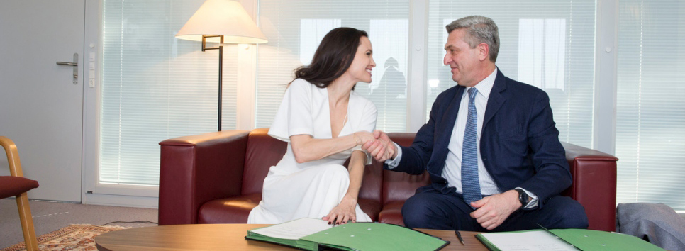 UN High Commissioner for Refugees Filippo Grandi meets with UNHCR Special Envoy Angelina Jolie.  © UNHCR/Mark Henle