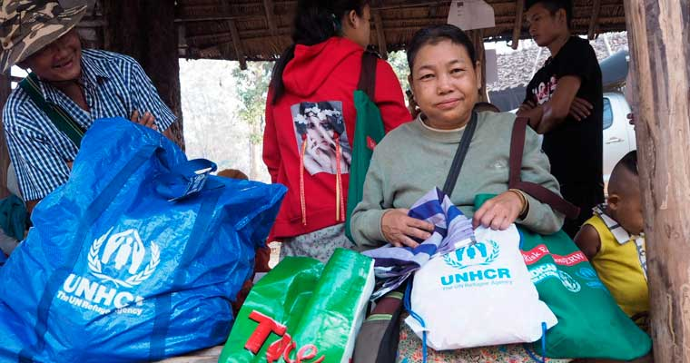 Ma Thay, a refugee from Ban Mae La camp, receives non-food items(NFIs) before a departure to Myanmar during the voluntary repatriation, 20 February 2019.  ©UNHCR/Chattriyaporn Singchum